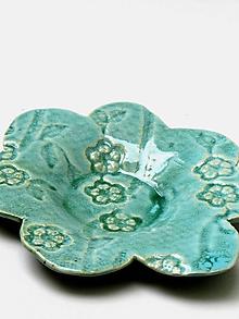 Nádoby - tanierik kvet zeleno tyrkysový - 11860150_