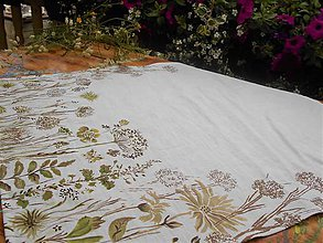 """Úžitkový textil - Ľanový maľovaný obrus """" Lúčne trávy """" - 11866137_"""