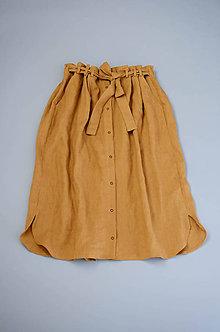 Sukne - Ľanová sukňa KAYA škoricová (Oranžová) - 11866097_