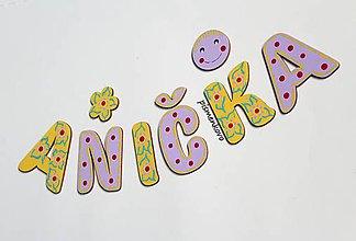 Tabuľky - ANIČKA žlto fialové meno pre dievčatko - 11865424_