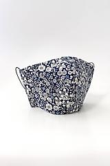 """Rúška - Tmavomodré dvojité kvetinové rúško z ľanu a bavlny """"Bluelinen"""" - 11867390_"""