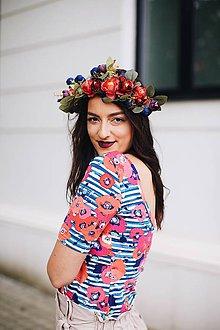 Tričká - Elegantný top na dojčenie stripes poppy - 11866494_