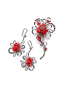 """Náušnice - Souprava šperků """"Když miluješ"""" zlomky rudého korálu - 11866708_"""