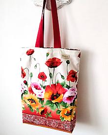 Nákupné tašky - Taška divé maky, bordúra - 11865338_