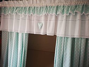 Úžitkový textil - Záclonka+závesy bodka na mentolke - 11865223_