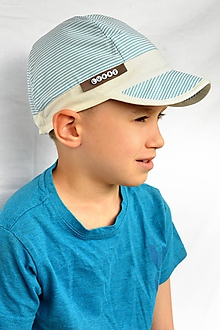 Detské čiapky - Letná šiltovka bledomodrá pásik - 11867339_