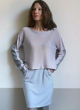 Svetre/Pulóvre - fialkovo-šedý pulover bavlna kašmír - 11863444_