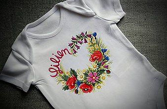 Detské oblečenie - Rozkvitnutá lúka- maľované detské body - 11871490_