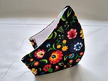 Rúška - Dizajnové rúško folk kvety tvarované dvojvrstvové - 11870535_