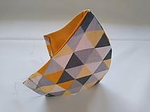 Rúška - Dizajnové rúško trojuholníky letné tvarované dvojvrstvové - 11871016_