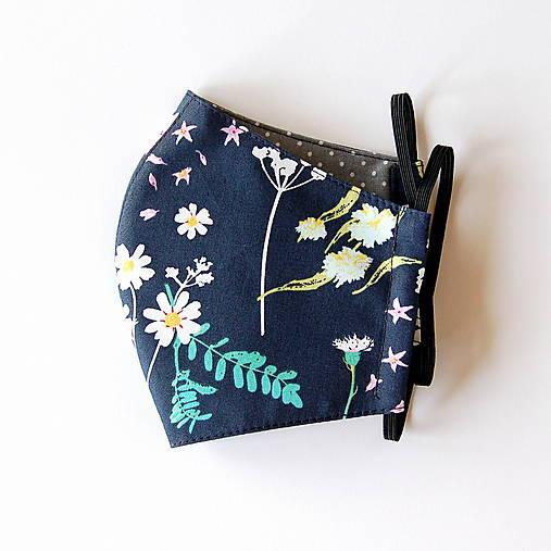Rúško dámske - Tmavomodré s kvetmi