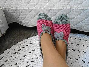 Obuv - Háčkované papuče v ružovej - 11871890_
