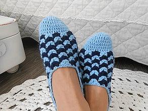 Obuv - Háčkované papuče v modrom 2 - 11871924_