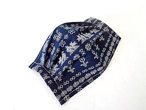Rúška - Bavlnené rúško letné tm.modré Čičmany - 11869165_