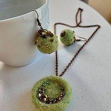 Sady šperkov - Náušnice a prívesok farby Čerstvá tráva set - 11870063_