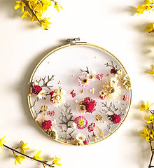 Dekorácie - Obraz vyšívaný kvetmi  - 11871695_
