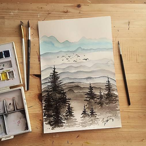 Hmlisté rána v dolinách - akvarelová maľba