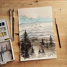 Kresby - Hmlisté rána v dolinách - akvarelová maľba - 11870338_