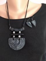 Sady šperkov - Čiernobiely náhrdeľník a náušnice - 11870838_