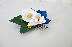 Ozdoby do vlasov - Hrebienok do vlasov s maľovanými kvetmi - 11870120_