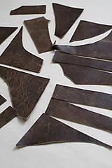Suroviny - Zbytková koža hnedá melírovaná - POSLEDNÝ BALÍK - 11872248_