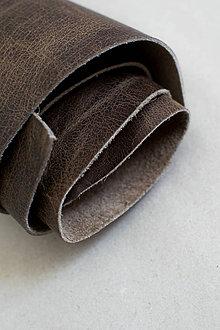 Suroviny - Zbytková koža hnedá melírovaná - POSLEDNÝ BALÍK - 11872268_