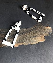 Náušnice - Biele náušnice s prvkami čiernej - 11868962_