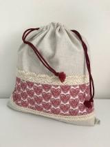 Úžitkový textil - Vrecko na chlieb z ľanového plátna s bavlnenou krajkou a farebným vzorom - 11868690_