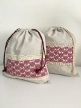 Úžitkový textil - Vrecko na chlieb z ľanového plátna s bavlnenou krajkou a farebným vzorom - 11868691_