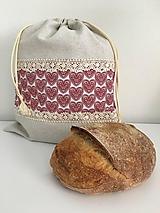 Úžitkový textil - Vrecko na chlieb z ľanového plátna s bavlnenou krajkou a farebným vzorom - 11868693_