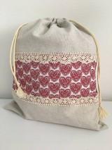 Úžitkový textil - Vrecko na chlieb z ľanového plátna s bavlnenou krajkou a farebným vzorom - 11868695_