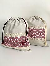 Úžitkový textil - Vrecko na chlieb z ľanového plátna s bavlnenou krajkou a farebným vzorom - 11868706_