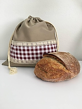 Úžitkový textil - Vrecko na chlieb z ľanového plátna s bavlnenou krajkou a farebným vzorom - 11868711_