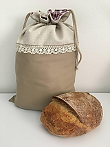 Úžitkový textil - Podšité ľanové vrecko s bavlnenou krajkou - 11868872_