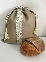 Úžitkový textil - Podšité ľanové vrecko s bavlnenou krajkou - 11868878_