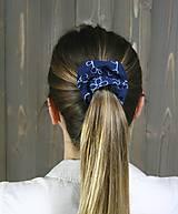 Ozdoby do vlasov - modrotlačová gumička scrunchie 3 - 11868148_