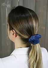 Ozdoby do vlasov - modrotlačová gumička scrunchie 4 - 11868152_