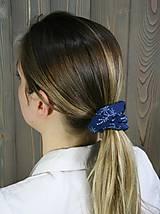 Ozdoby do vlasov - modrotlačová gumička scrunchie 6 - 11868164_