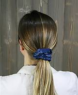 Ozdoby do vlasov - modrotlačová gumička scrunchie 6 - 11868165_