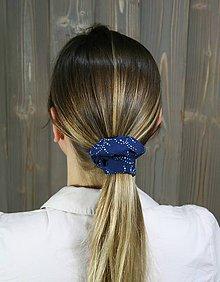 Ozdoby do vlasov - modrotlačová gumička scrunchie 4 - 11868151_