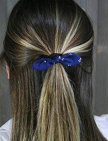 Ozdoby do vlasov - modrotlačová gumička lístočky mini 1 - 11868184_