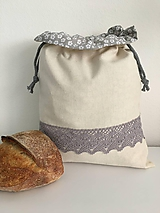 Úžitkový textil - Podšité ľanové vrecko s bavlnenou krajkou - 11873940_