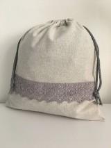 Úžitkový textil - Vrecko na chlieb z ľanového plátna s bavlnenou krajkou - 11873956_
