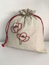 Úžitkový textil - Vrecko na chlieb z ľanového plátna s ručnou výšivkou - 11873966_