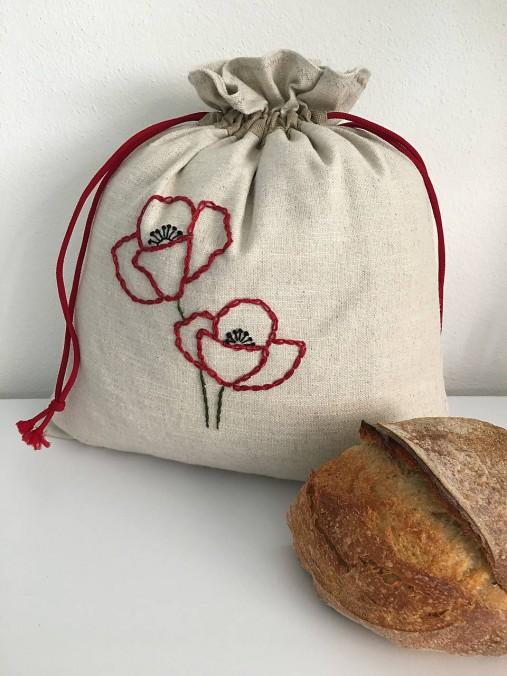 Vrecko na chlieb z ľanového plátna s ručnou výšivkou