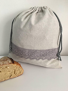Úžitkový textil - Vrecko na chlieb z ľanového plátna s bavlnenou krajkou - 11873955_