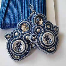 Náušnice - Soutache náušnice s folkovým kabošonom (Modrá) - 11872747_