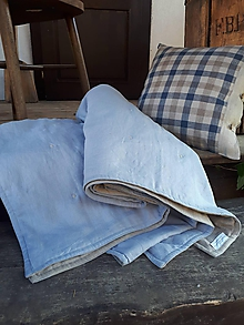 Úžitkový textil - Ľanová prikrývka Lazy Daisy - 11877523_