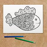 Papiernictvo - Rybka - relaxačná omaľovánka (z vĺn zrodená) - 11873797_