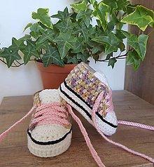 Topánočky - Ružové maskáčové tenisky - 11881366_